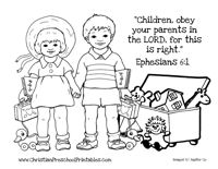 Obey your parents free colouring pages for Obey god coloring page