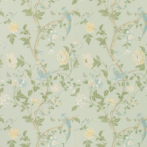 Blue Floral & Birds Wallpaper