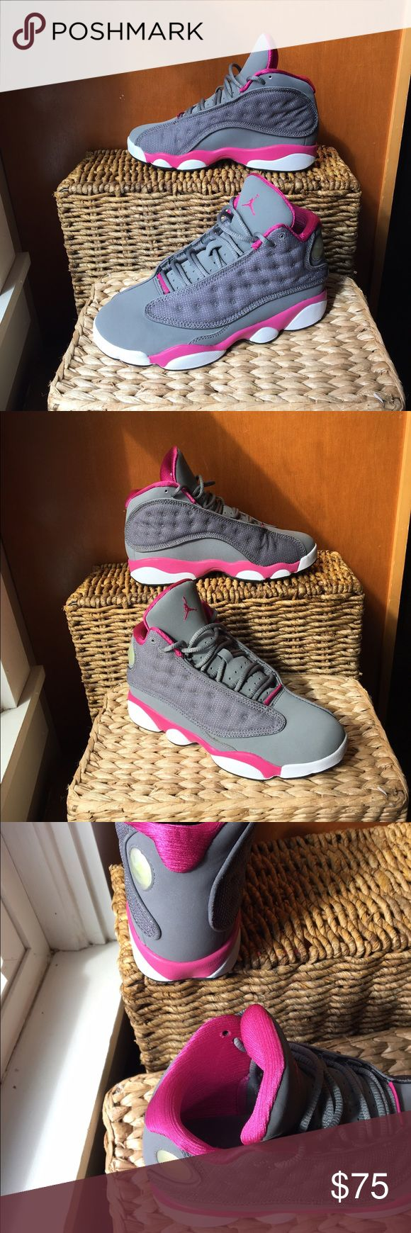 Air Jordan Retro 13 Grey/Pink size 3Y Nike Air Jordan 13  Retro COOL GREY/FUSION PINK-WHITE #439669-029 kids size 3Y. These are in like new condition clean inside and out, comes with box. Retailing around 100.00 sold out on multiple websites.made in 2012.  This feminine approach for the Air Jordan 13 exclusively for girls features a Cool Grey upper with Fusion Pink accents Nike Shoes Sneakers