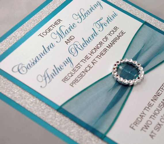 DIY - Print At Home - Stunning Teal & Silver Glitter Wedding Invitation Kit - Full of Bling, Sparkle, and Dazzle, 3.50 :)