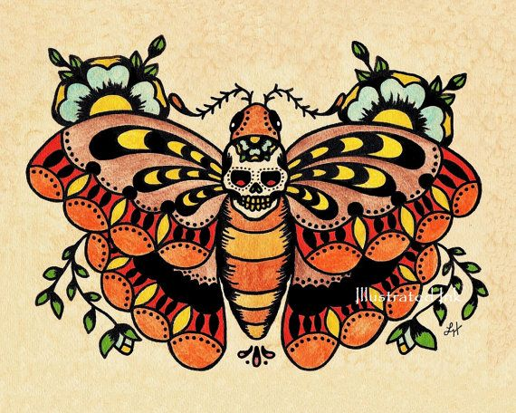 Old School Tattoo Art Death MOTH Skull Print 8 x 10