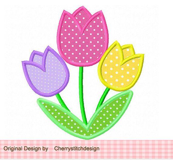 Tulips Applique 4x4 5x7 6x10Machine by CherryStitchDesign $2.99