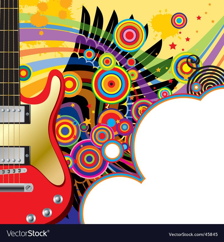 Background with a red guitar Royalty Free Vector Image ,
