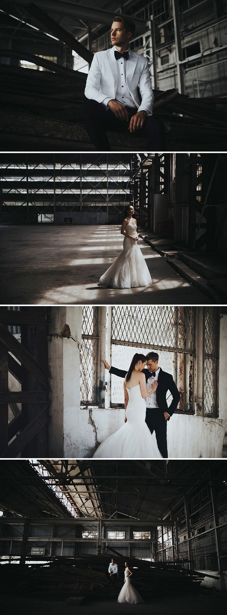 Beautiful shots against old buildings with dark lighting and a timeless grace // Gazetted for conservation, the former Kallang Airport was Singapore's first commercial international airport, touted as one of the most modern airports of its time. Its rich history was the perfect complement to the moody industrial vibes that the airport contributed to this styled shoot with AndroidsinBoots, The Proposal Bridal, Wong Hang Distinguished Tailor and The Make Up Room.
