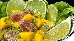 Tuna ceviche with mango and lime