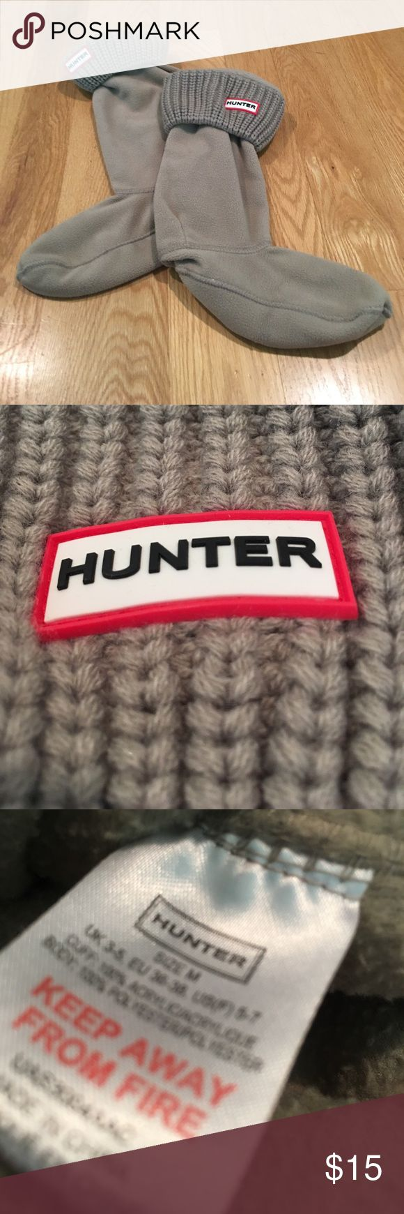 HUNTER Boot Liners with Logo & Ribbed Cuff Only used these once in my boots! Size medium. Washed once. Desc: You'll stay cozy and warm wearing these clever boot socks, cut from softest fleece and finished with a foldover ribbed-knit cuff. Hunter Shoes Winter & Rain Boots