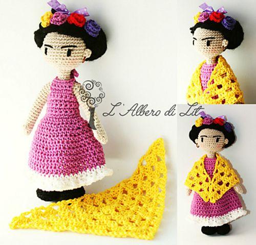 Ravelry: Frida Kahlo | Amigurumi pattern by Selene | L'Albero di Lit