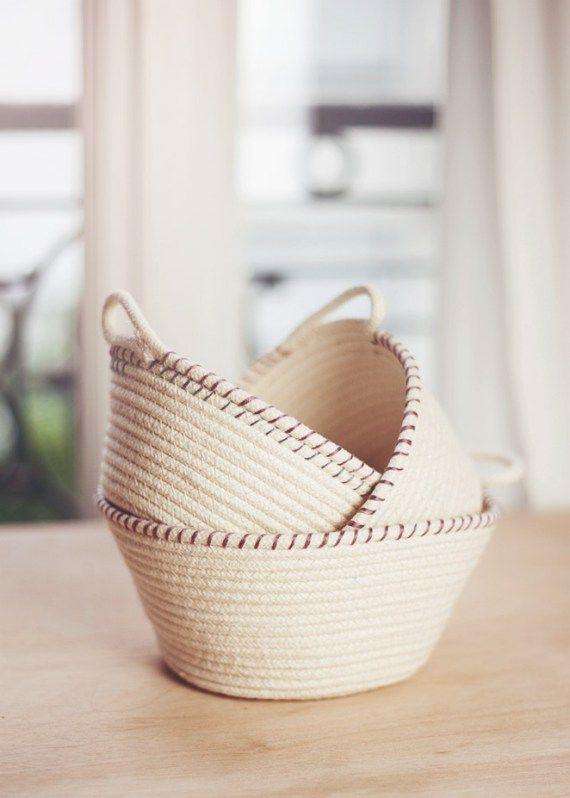 1000 ideas about rope basket on pinterest fabric bowls fabric basket and remote holder. Black Bedroom Furniture Sets. Home Design Ideas
