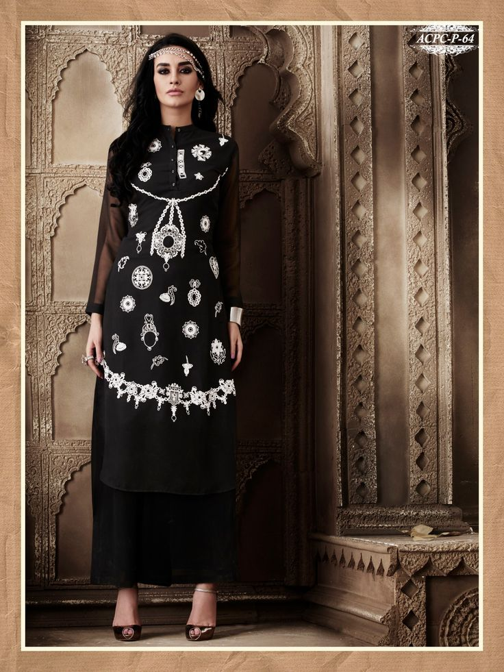 Black Colour Embroidery Georgette Stitched Kurti
