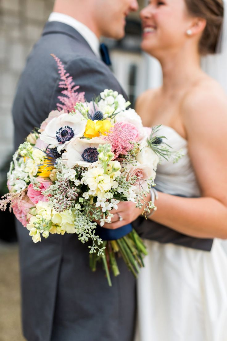 White anemone and soft pink astillbe wedding bouquet: Photography : Rustic White Photography Read More on SMP: http://www.stylemepretty.com/georgia-weddings/douglasville/2016/09/12/southern-horse-stable-wedding/