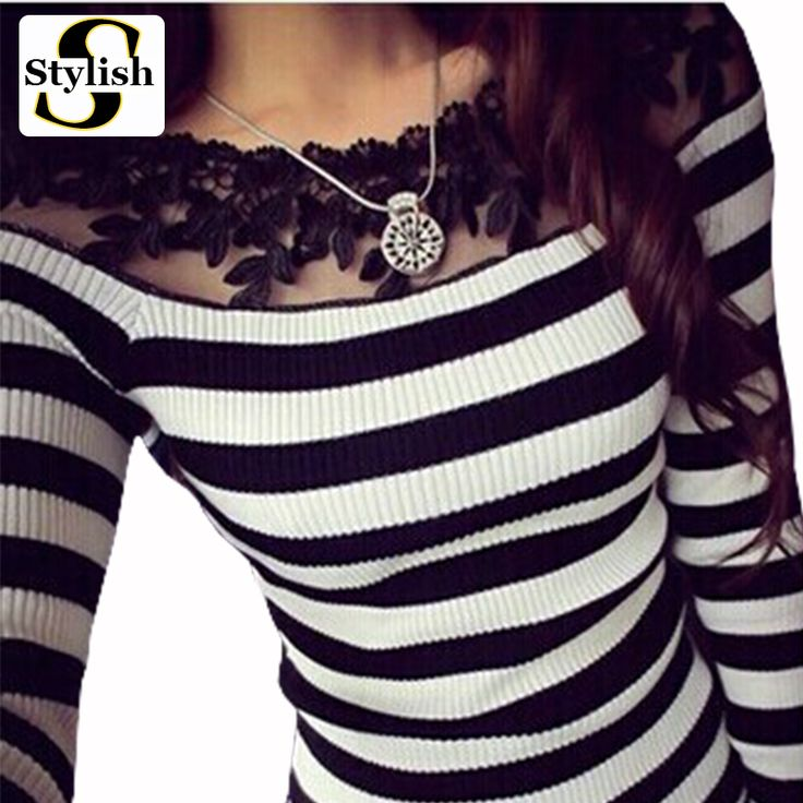cotton black and white striped blouse Knitted women tops fashion 2015 lace floral embroidery shirts long sleeve knitwear 2016-in Blouses & Shirts from Women's Clothing & Accessories on Aliexpress.com   Alibaba Group