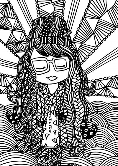 Free adult coloring page. Hipster girl with zentangles. Gratis kleurplaat voor volwassenen.