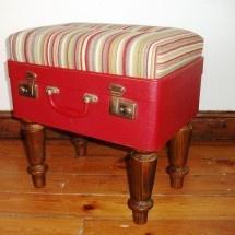 Vintage suitcase turned upholstered ottoman! Lurv it!!!