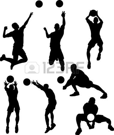 Vector Images of Male Volleyball Silhouettes Spiking and Setting Ball Stock Vector