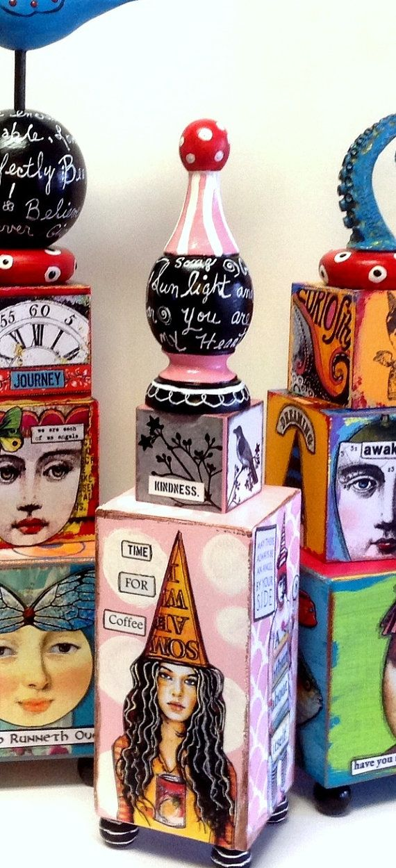 Mixed Media Altered ART Zetti  INSPIRATION BLOCKS by IMGirl