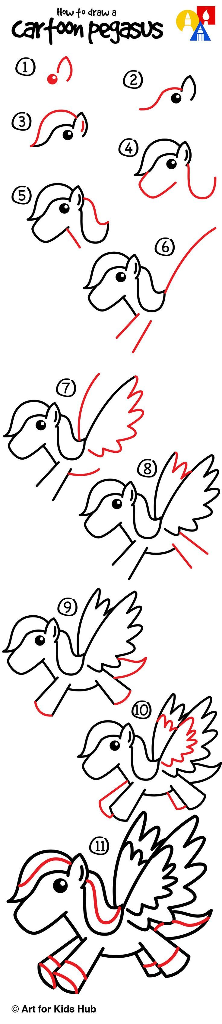 How to draw a cartoon pegasus!