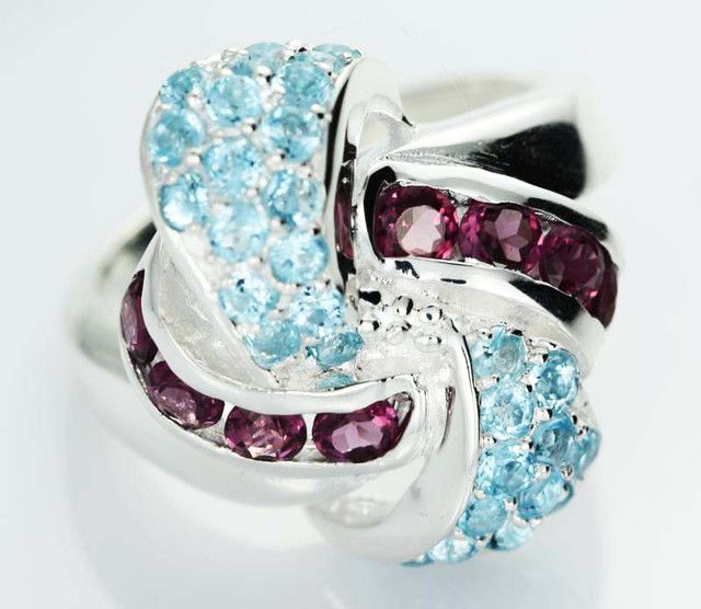 ASSORTED GEM STONE 7 RING SIZE [SJ1506]SH  NATURAL MULTI GEMSTONE RING   FROM GEMROCKAUCTIONS.COM