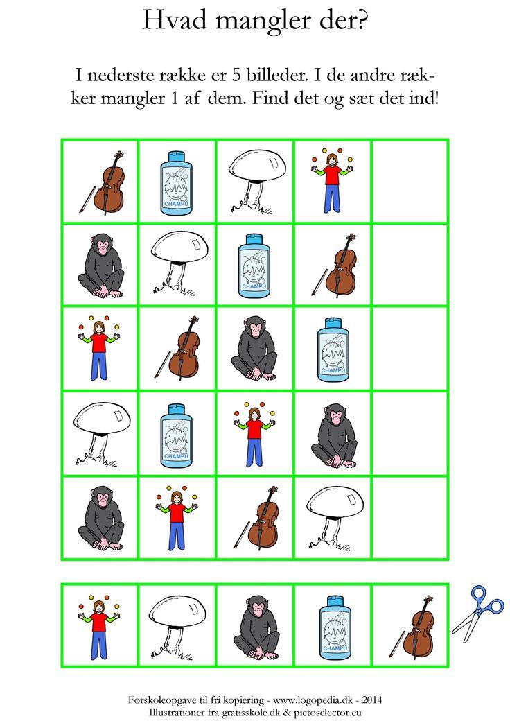 I den nederste række er der 5 billeder, som du kan klippe ud. Find, hvad der mangler i hver af de øverste rækker, og lim det manglende billede ind. Alle billederne begynder med /ɕ/.
