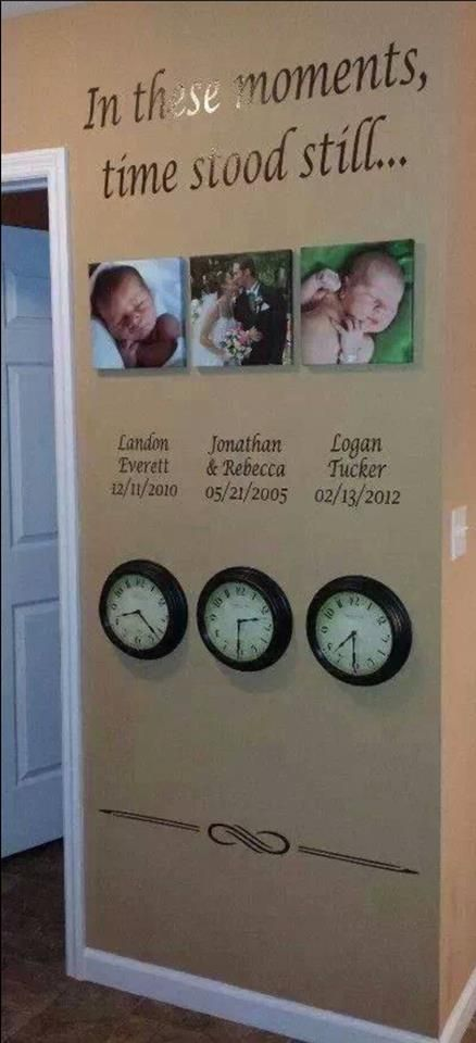 love this idea of a time stood still wall!