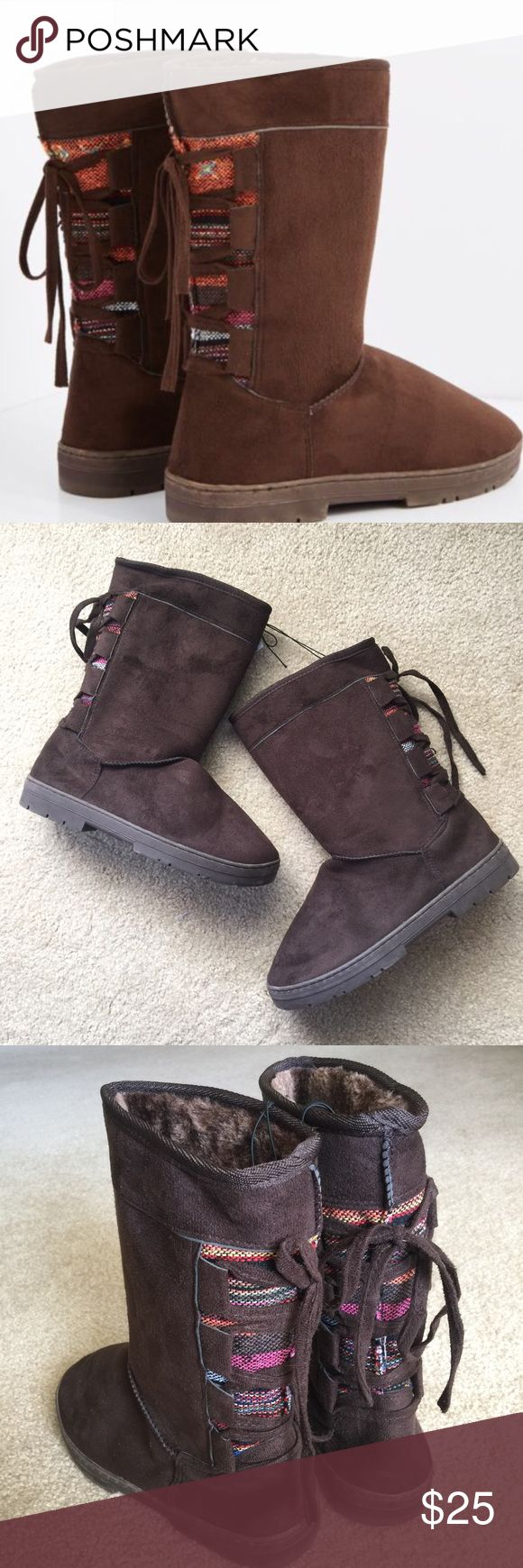 """Winter Boots Brown mock suede winter boots with a lace up tribal inspired design. Fully lined and skid free sole. Approximately 11"""" inches tall. Size Large (see size chart) in woman. Shoes Winter & Rain Boots"""