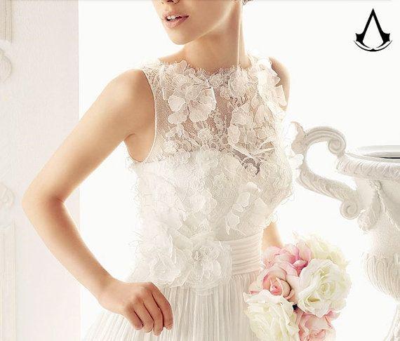 B&V concerto wedding gown original design and handmade no.45 white zipper back handmade flower lace silk simple wedding dress