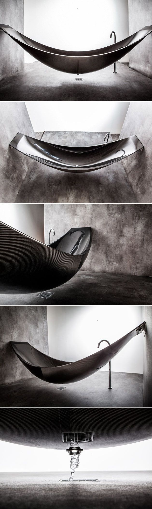 Dubbed the Carbon Fiber Vessel Bathtub, the tub is the perfect way to unwind after a long day. In its standard form, the Vessel measures in at 2.7 meters long (a bit longer than a normal bathtub), but it can also be completely customized to your space. The tub mounts between two walls, features a hole in the bottom for water drainage, and is available in a handful of colors including blue, red, bronze, pure silver, yellow, and even pink in addition to the black seen in the photos.