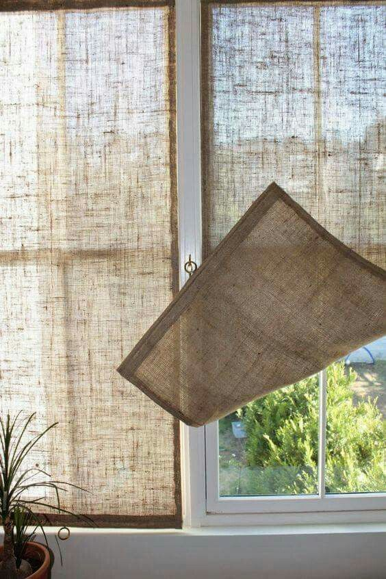 Burlap panels for kitchen windows - either side of shelves window