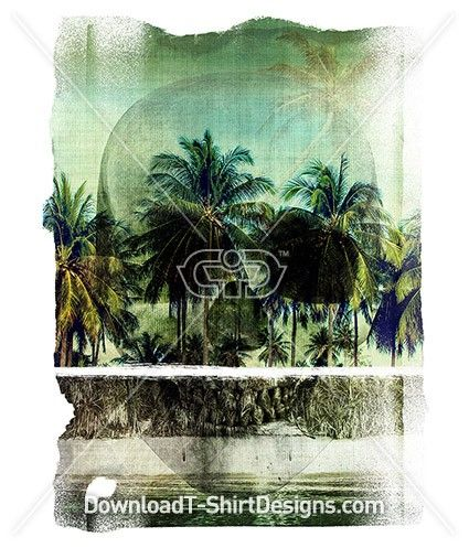 Tropical Island Palm Tree Beach Skull, Download this design & print on your T-Shirts or products today