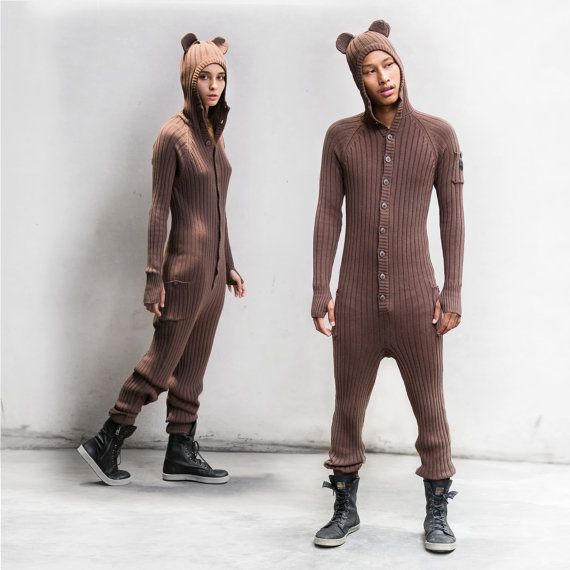 BROWN BEAR Winter PJ's for Adults - One Piece Jumpsuit - Bear Pajamas for Men and Women - Blamo - Long Johns - Fireman's Flap - Holiday Gift