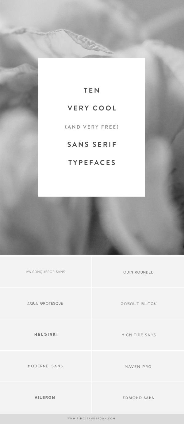 Fiddle and Spoon | ten very cool (and very free) sans serif typefaces | http://fiddleandspoon.com