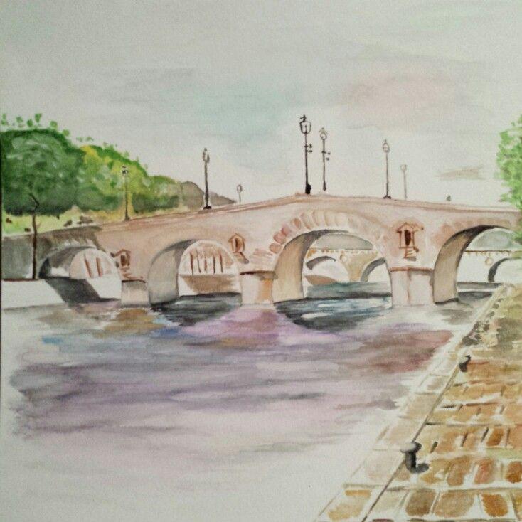 Pont Marie, Paris in Watercolors