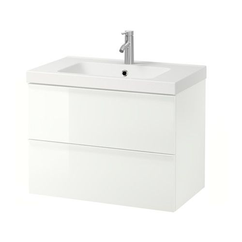 """IKEA - GODMORGON / ODENSVIK, Sink cabinet with 2 drawers, high gloss white, 31 1/2x19 1/4x25 1/4 """", , 10-year Limited Warranty. Read about the terms in the Limited Warranty brochure.Smooth-running and soft-closing drawers with pull-out stop.You can easily change the size of the box by moving the divider.You can easily see and reach your things because the drawers pull out fully.Drawers made of solid wood, with bottom in scratch-resistant melamine.The included water trap is easy to connect to…"""