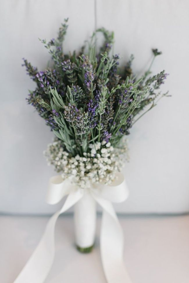simply elegant lavender and baby breath wedding bouquet