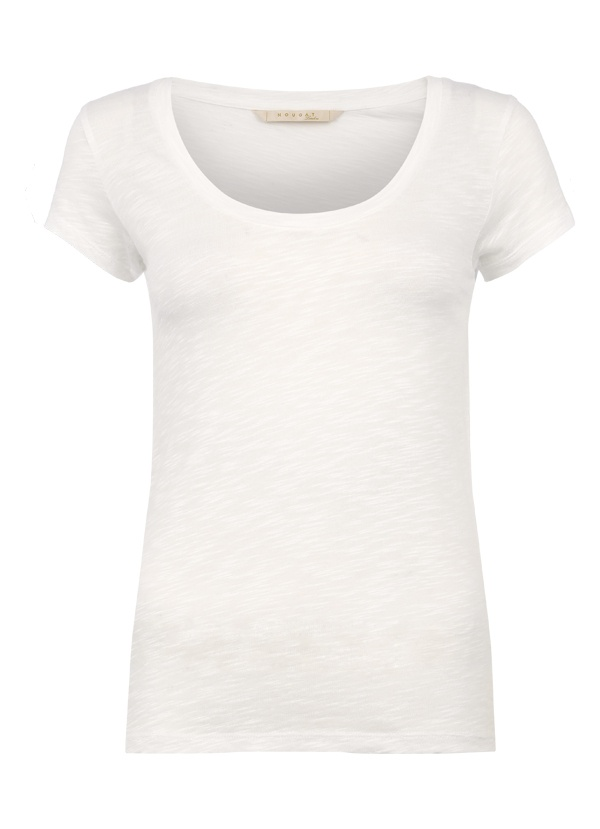 Cotton Modal Wide Scoop Neck Tee in White