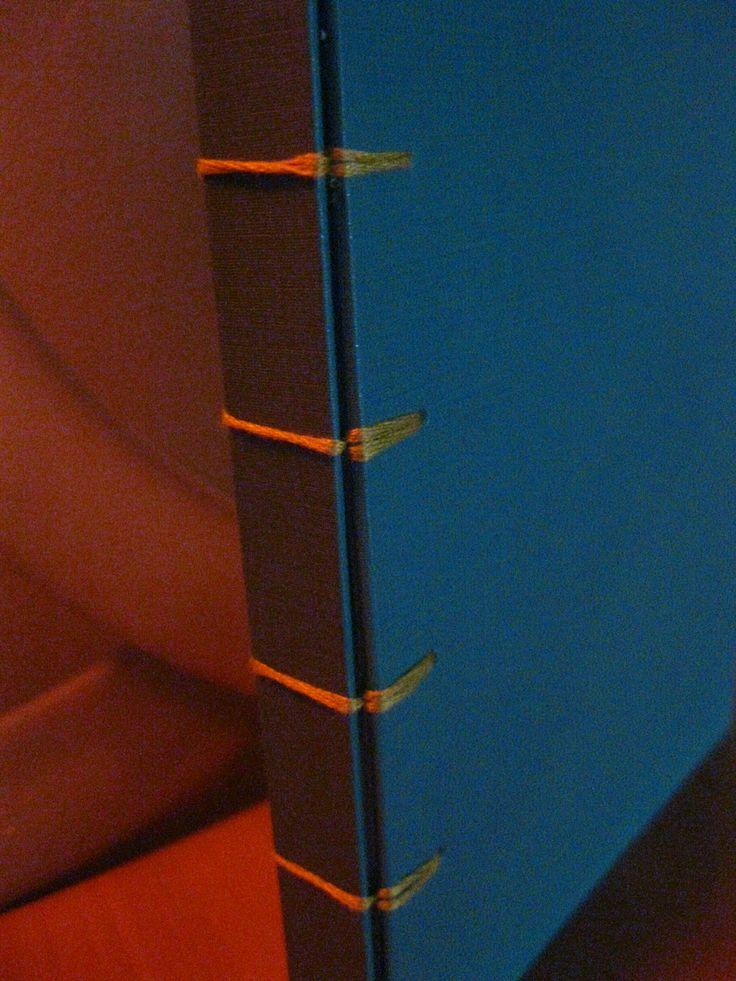 Cuaderno tapa dura y hojas blancas lisas. Técnica de encuadernación Belga. USD 10.