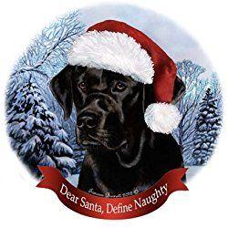 Dog in Santa Hat Porcelain Hanging Howliday Ornament (Black Lab)