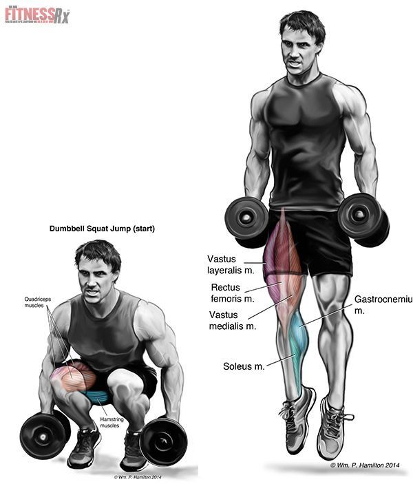Lower Body Power Surge With Dumbbell Squat Jumps