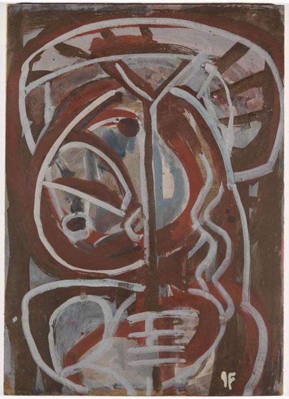 After conservation treatment | Ian Fairweather | Scotland/Australia 1891-1974 | Head c.1955 | Gouache on cardboard