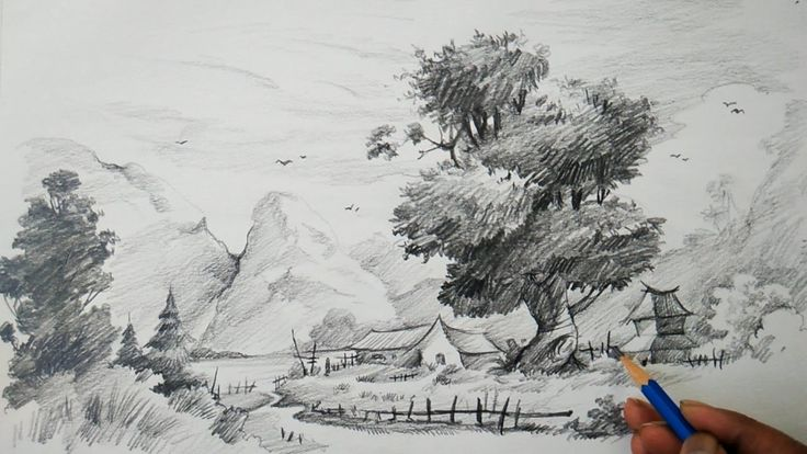 How To Learn Landscape With Easy Strokes Of Pencil For Children | Pencil...