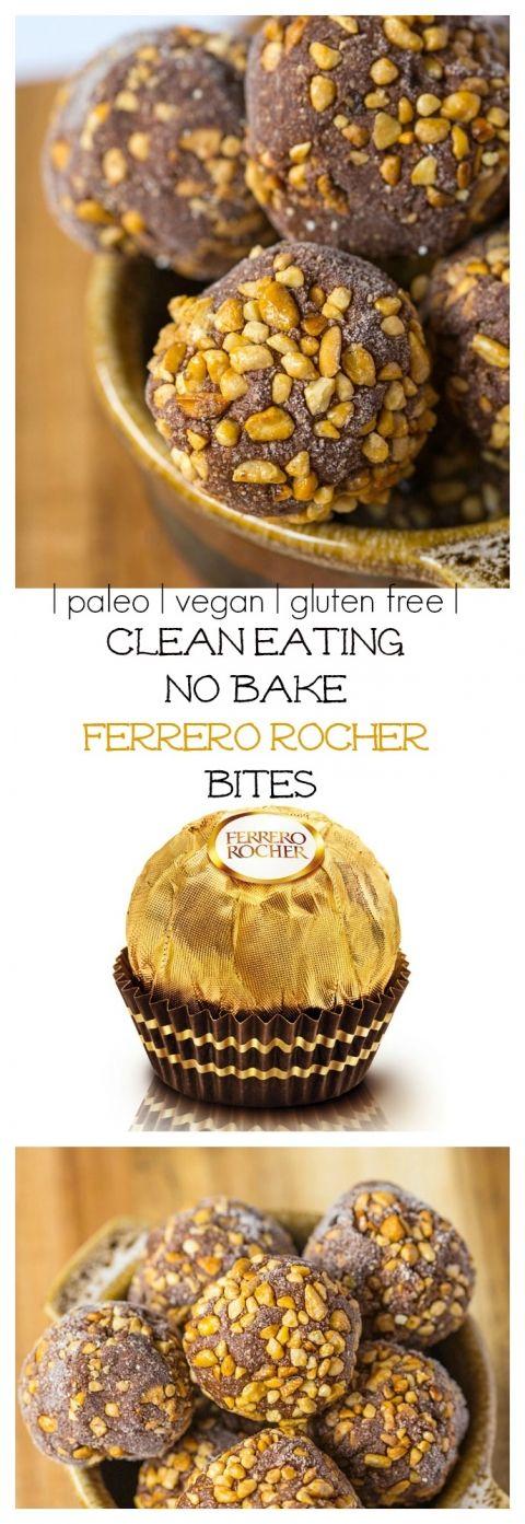 Healthy No Bake Ferrero Rocher Bites- A quick and easy snack! {paleo, vegan and gluten free!}