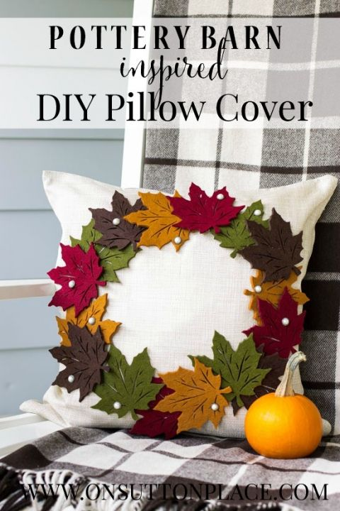 Make this Pottery Barn inspired Fall Wreath Pillow for a fraction of the PB price! Easy and NO SEW. | onsuttonplace.com