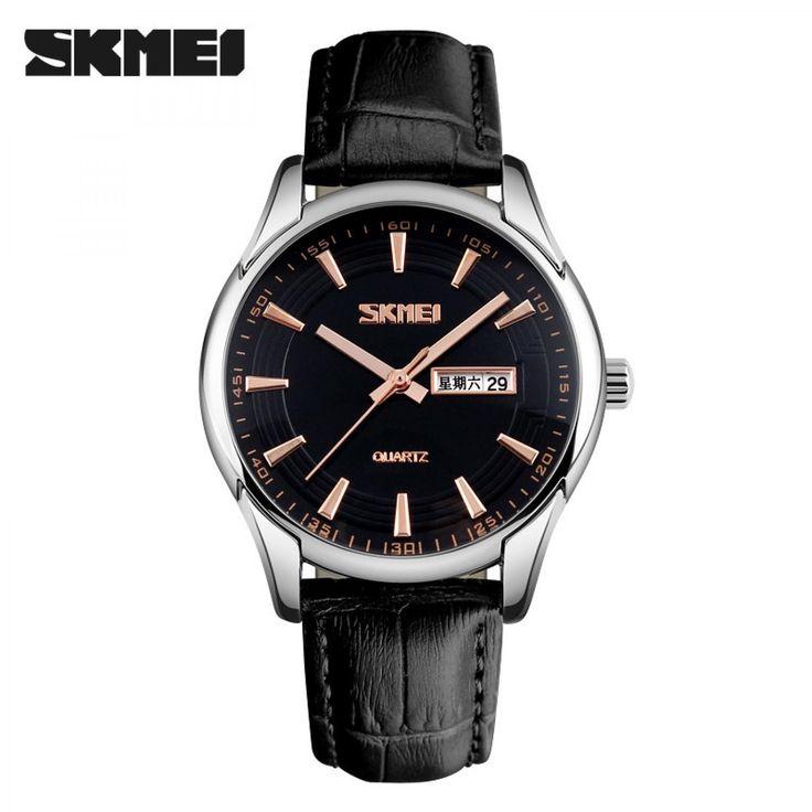 Jam Tangan Pria SKMEI Original Casual Leather Strap 9125CS Hitam