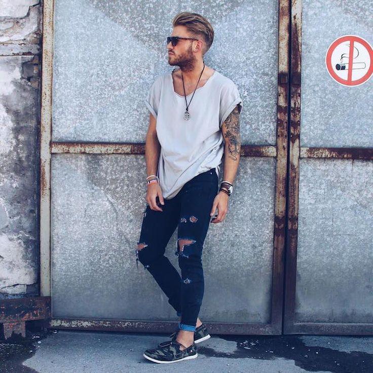 20 looks de inspiração para usar o jeans destroyed | El Hombre