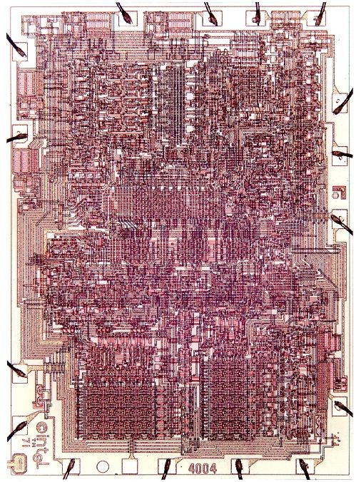 "first microprocessor invented by Intel Corporation in 1971. First sold in Japan to Busicom Corporation. ""new era in integrated electronics"""