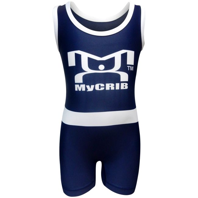 Our MyCRIB Blue and White Singlet is comfortable and durable for your tiny #wrestler in training. MyHOUSE is the leading provider of custom singlets and custom products in the USA.