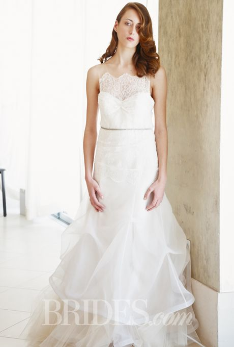 This dress comes with a convenient bib.  Brides.com: . Wedding dress by Kelima K