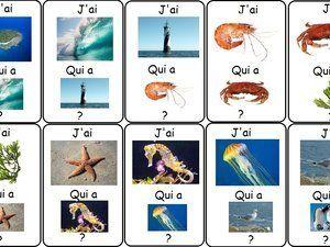 Vocabulaire J'ai. Qui a ? sur le thème de la mer.
