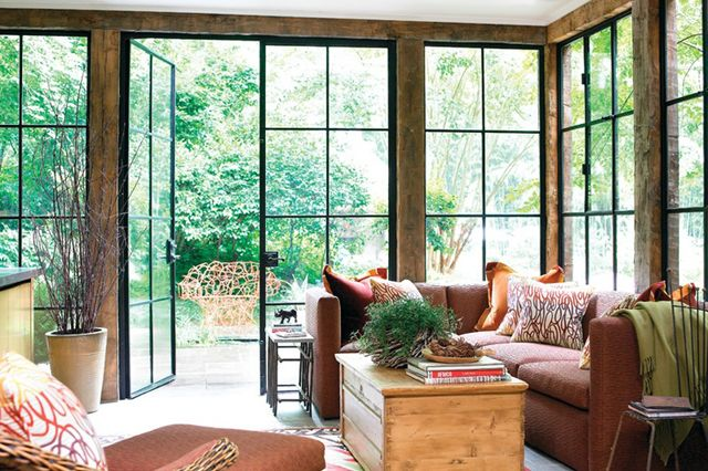 Steel windows with wood trim.