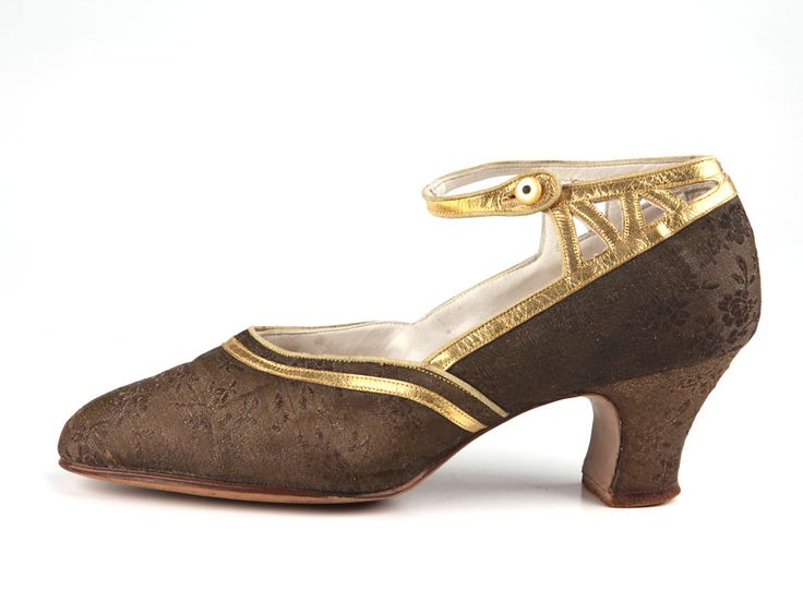Brocade shoes decorated with gold leather applique, 1920's