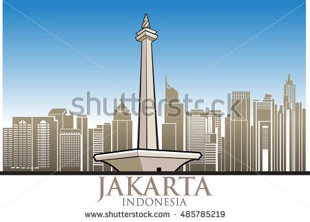 Vector abstract, Jakarta, officially known as the Special Capital Region of Jakarta, is the capital and most populous city of the Republic of Indonesia.